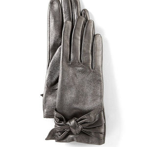 NWT Badgley Mischka Leather Bow Tie Gloves